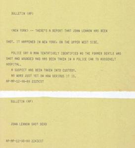 The original AP bulletins sent on December 8, 1980 (click to enlarge)