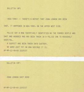 The original AP bulletins sent on December 8, 1980 (click to enlarge)